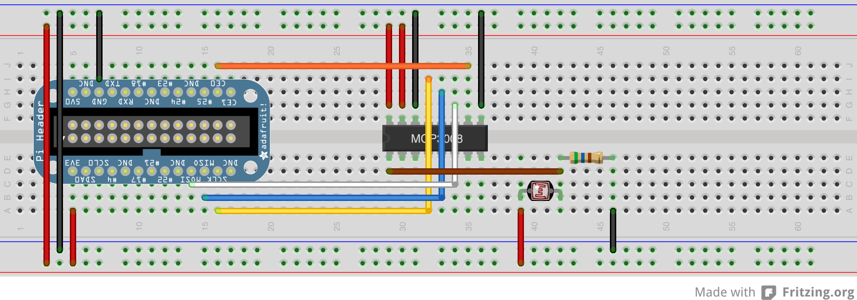 Serial Peripheral Interface Spi Using Wiringpi In Python Mcp3008 Pinout Hardware Breadboard